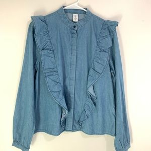 H&M &Denim Ruffle Button Down